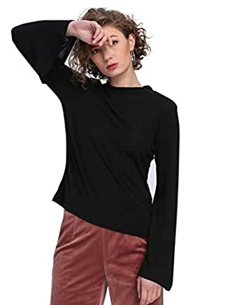 Sweaters For Women Flare Sleeve Basic Sweater Blouse (Small, Black)