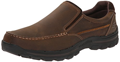 Skechers USA Men's Braver Rayland Slip-On Loafer, Dark Brown Leather, 10.5 M US Brown Woven Leather Loafer