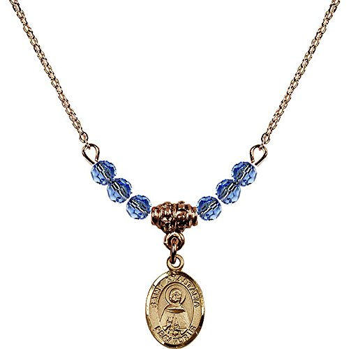 Anastasia 4 Light Pendant (18-Inch Hamilton Gold Plated Necklace with 4mm Light Blue September Birth Month Stone Beads and Saint Anastasia Charm)