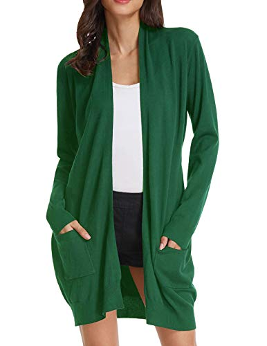 Women's Long Sleeve Open Front Knitting Kimono Cardigan Pockets (2XL,Army Olive)