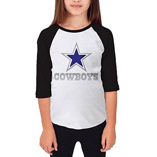 Hotboy19 Youth Girls Dallas Sport Football Logo Raglan Tee Baseball Shirt Black Size S