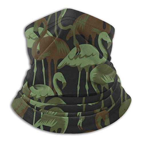 Not Applicable Head Scarf,Military Patterns with Tropical Flamingo Windproof Face Bandana,Sweat Bandana Neck Gaiters… 1