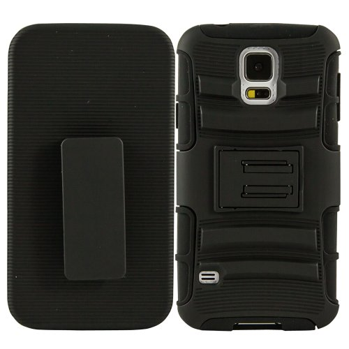 Fulland Prime Series Dual Layer Holster Case with Kick Stand and Locking Belt Swivel Clip for Samsung Galaxy S5 V I9600 With Stylus & Screen Protector-Black/Black