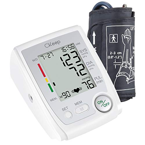 CKeep Automatic Upper Arm Electronic Blood Pressure Monitor with Cuff,Large Display Screen and High Accuracy,Case and Batteries Included