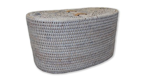 Artifacts Trading Company Rattan Oval Double Tissue Roll Box, 13