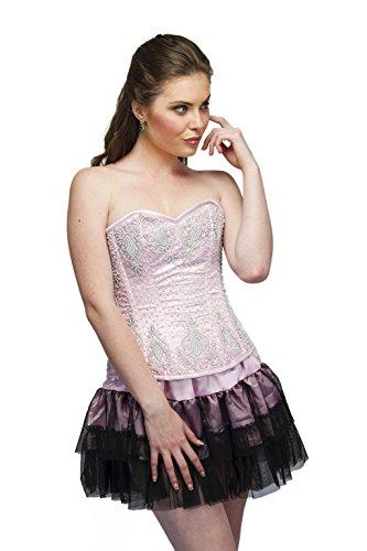 まっすぐにする学部長オピエートBaby Pink Satin Sequins Goth Burlesque Waist Cincher Bustier Overbust Corset Top