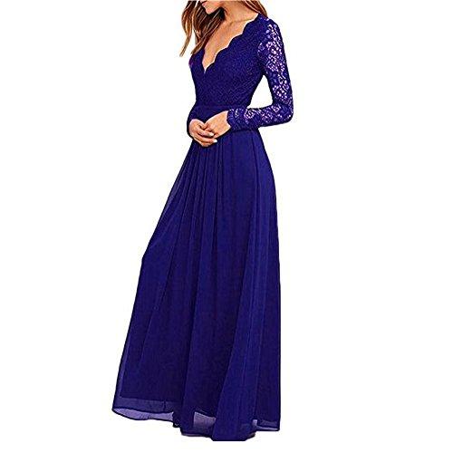 Bridesmaid for Long 2018 Blue Prom Long Chiffon V Neck Dresses Lace Deep Botong Women Dress Sleeves Royal SRqEcw7