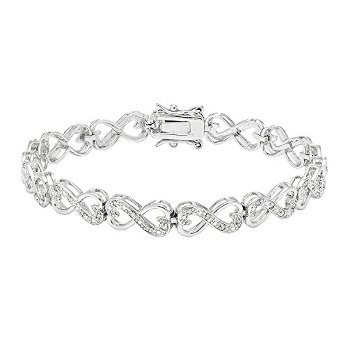 JewelExclusive Sterling Silver 1/4cttw Natural Round-Cut Diamond (J-K Color, I2-I3 Clarity) Infinity Double Heart Bracelet, 7.5