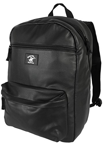 Beverly Hills Polo Club PU Leather Multi Functional Laptop Backpack, Black
