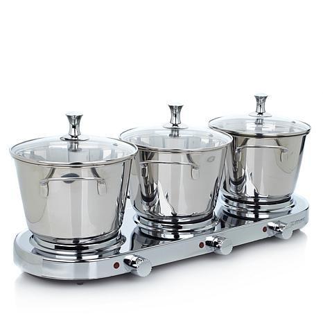 8-piece Stainless Triple Burner Buffet Set with (3) 3.5qt Casserole Pans and Steamer Insert