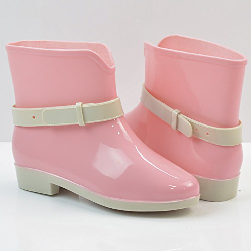 Women's Waterproof Rubber Jelly Anti-Slip Rain Boot Buckle Ankle High Rain Shoes B01J7EXNOE 7.5 B(M) US|Pink