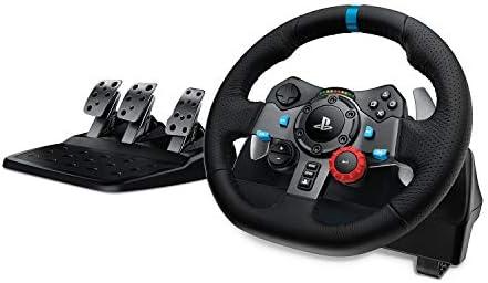Logitech G29 Driving Force Gaming Rennlenkrad, Zweimotorig Force Feedback, 900° Lenkbereich, Leder-Lenkrad, Verstellbare Edelstahl Bodenpedale, PS4/PS3/PC/Mac - UK-Stecker, schwarz