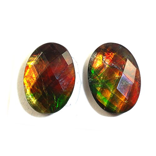 Genuine Rose cut Canadian Ammolite Marquise Oval 14x10mm Matched Pair Approximatley 9.04 Carat (12318)