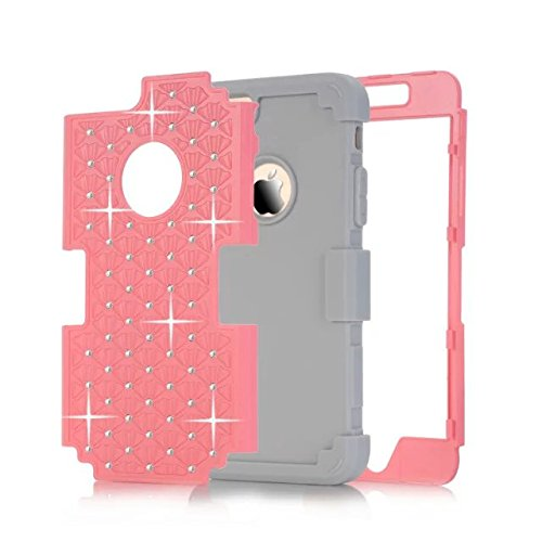IPhone 6 hülle,iPhone 6S hülle,Lantier [weicher harter Tough Case] ??Designer Kristallbling Hybrid Rüstungs Kasten Abdeckung für Apple Iphone 6 6S Rosa + Grau