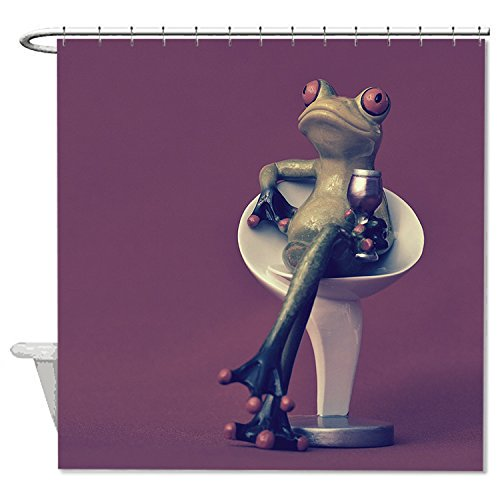 [HANHAOKI Frog Drink Wine Pattern Bath Decro Waterproof Polyester Fabric Bathroom Shower Curtain liner for Kids] (Child Frog Costume Pattern)