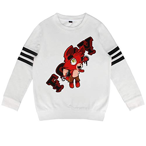 Five-Funny-Nights-at-Freddy-Fashionable- Child White Crewneck Sweatshirt Cute Classic Volleyball Guys -