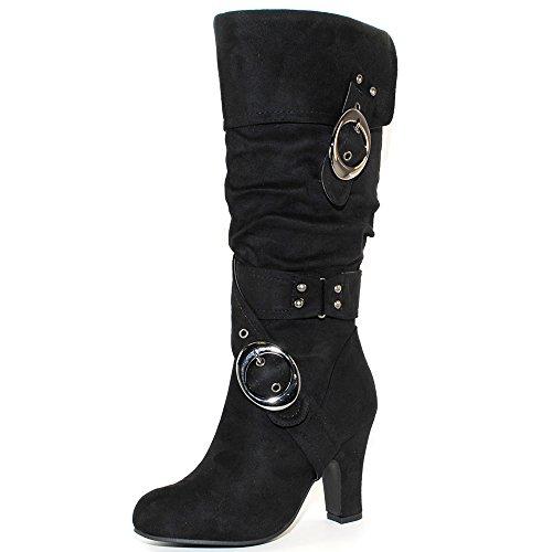 TRENDSup Collection Women's Mid Heel Crossed Buckle Straps Boots (8.5, Black)