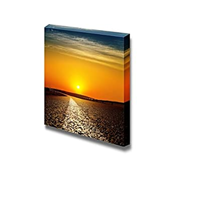Canvas Prints Wall Art - Beautiful View/Scenery of Asphalt Road in Red Sunset | Modern Wall Decor/Home Art Stretched Gallery Canvas Wraps Giclee Print & Ready to Hang - 16