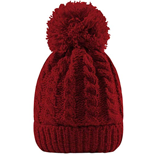 Women's Winter Beanie Warm Fleece Lining - Thick Slouchy Cable Knit Skull Hat Ski Cap(Dark red)