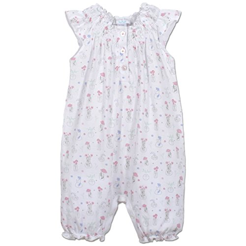 Feather Baby Girls Clothes Pima Cotton Angel Sleeve One-Piece Shortie Sunsuit Bubble Baby Romper, 0-3 months, Vase Floral on White