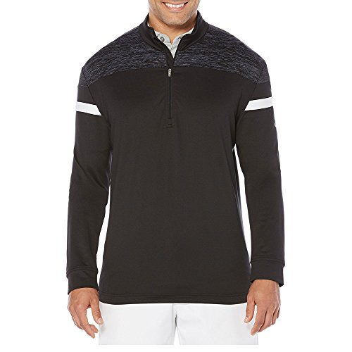 Perry Ellis Print Sweater (Callaway Men's Opti-Therm Long Sleeve 1/4 Zip Shoulder Print Knit Jacket, XX-Large, Caviar)