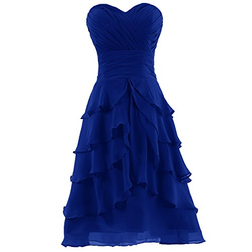 Dresstells® Women's Sweetheart Knee-length Chiffon Short Bridesmaid Dress Royal blue Size 12