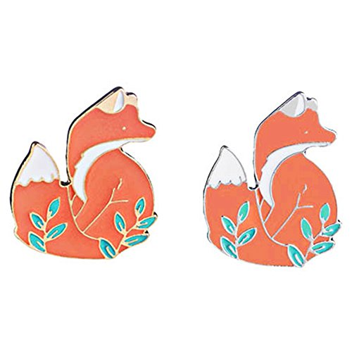 Enamel Pin Sets Cute Pins Funny Animal Lapel Pin Brooch Pin for Backpack (Gold and Silver Fox)