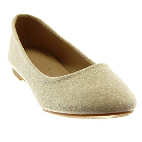 Angkorly Damen Schuhe Ballerina - Slip-On Blockabsatz 1.5 cm Beige