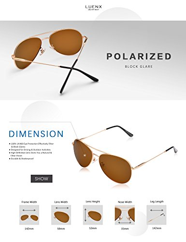 LUENX Men Women Aviator Sunglasses Polarized Brown Lens Metal Frame UV 400 59MM Driving Fashion with Accessories by LUENX (Image #4)
