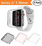 Apple Watch Series 2 & Series 3 Case 38mm, Monoy New [3 Pack] [Ultra Thin] Slim HD PC Screen Protector Protective Cover for iWatch 2 iwatch 3 38mm (Series 2/3 38mm)