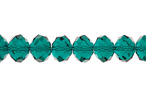 Crystal Bead, Facet rondelle, Emerald, 12x16mm