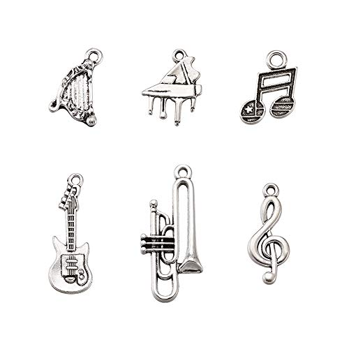 Pandahall 5Sets/30pcs Mixed Sets Musical Instruments Antique Silver Tibetan Style Alloy Pendants Guitar Harp Trumpet Piano Musical Note Treble Clef Necklace Charms Lead ()
