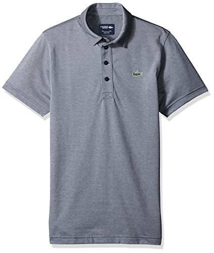 Lacoste Men's Short Sleeve Jersey Caviar Print with Button Front Placket Polo, DH3385, Navy Blue/White, X-Large