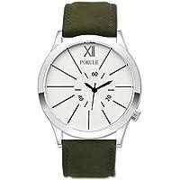 Men's Stainless Steel Fashion Classic Waterproof Quartz Watches Olive Leather Gentlmen Wrist Watches White Face Black Hands