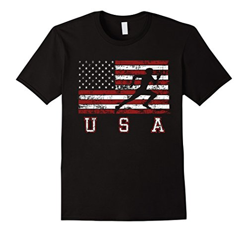Cool Distressed American Flag Track & Field T-Shirt -