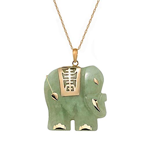 Regalia by Ulti Ramos Genuine Green Jade 14k Yellow Gold Good Fortune Elephant Pendant (18 Inch Chain)