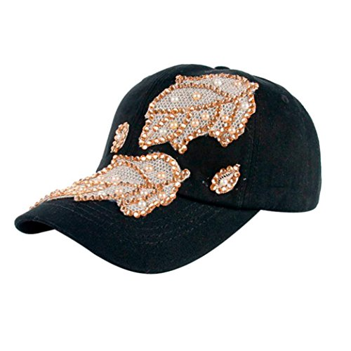 Clearance, Hipster Bling Leaves Studded Crystals Rhinestones Sequins Sport Jeans Denim Baseball Cap Golf Cap Sun Hat (Black) - Baseball Studded Cap