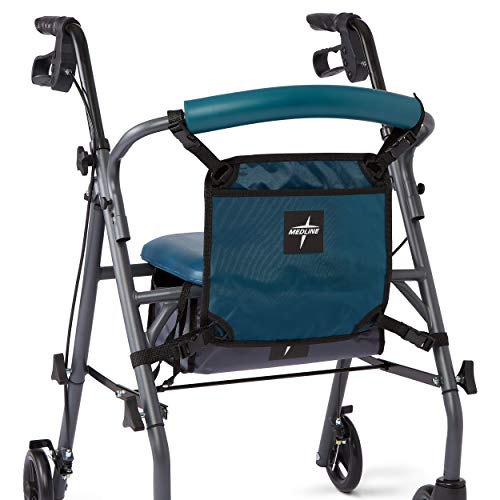 Medline Front Bag for Rollator Walkers, Adjustable Accessory Tote Easily Attaches to Most Walkers and Rollators, Teal