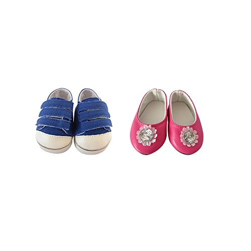 Fits 18' Dolls (Doll Shoes for 18 Dolls,18 inch Doll Blue Doll Canvas Sneakers with Rose Red Flat Shoes Fits 18'' American Girl Dolls Ag Doll)