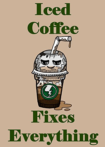 """""""Iced Coffee Fixes Everything"""" Food Humor Cartoon - Rectangle Refrigerator Magnet"""