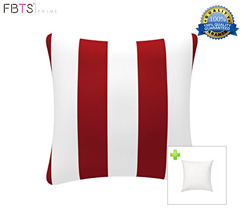 FBTS Prime Outdoor Decorative Pillows with Insert Red and White Stripe Patio Accent Pillows Throw Covers 18x18 Inches Square Patio Cushions for Couch Bed Sofa Patio Furniture by FBTS Prime