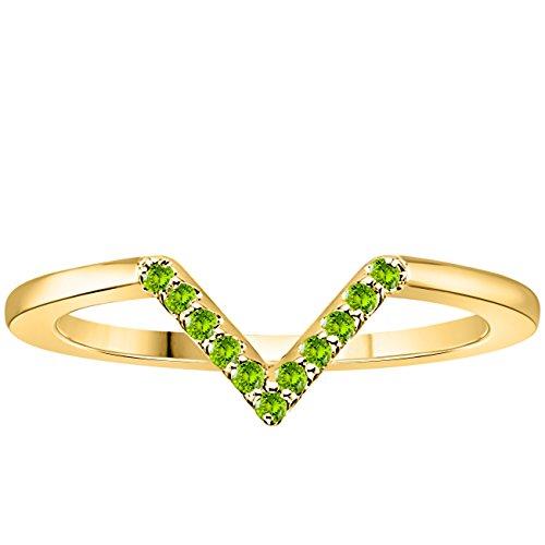 Gold Rings Wishbone (Silver Gems Factory Wishbone-Style 14k Yellow Gold Finish Round Brilliant Cut Green Peridot Wedding Band CZ Ring)