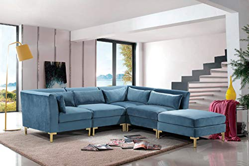 Iconic Home FSA9259-AN Girardi Modular Chaise Sectional Sofa Velvet Upholstered Solid Gold Tone Metal Y-Leg with 6 Throw Pillows Modern Contemporary Teal