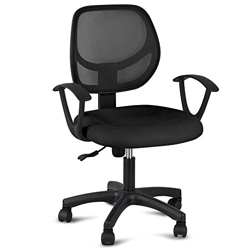 Yaheetech Mid-Back Mesh Office Chair Swivel Task Chair Adjustable Computer Desk Chair Tilt Ergonomic Office Chairs with Arms Black