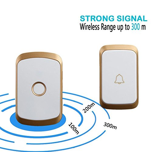 Price comparison product image Dreamyth Wireless Doorbell,Wireless Remote Control Chime Door Bell Gate Alarm Doorbell With 36-Melody (gold)
