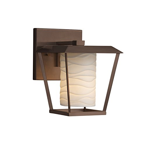 Limoges - Patina Small 1-Light Outdoor Wall Sconce - Cylinder with Flat Rim Translucent Porcelain Shade with Waves Design - Dark Bronze Finish - (Rim Cylinder Shade)