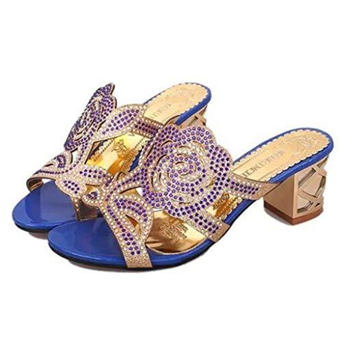 À Occasionnels Décontractées Chaussures Transparentes Carrés Bleu Pantoufles Innerternet Sexy Cristal Sandales D'été Pour Talons Dames En Flats D'extérieur Femme xqAE7zIwA