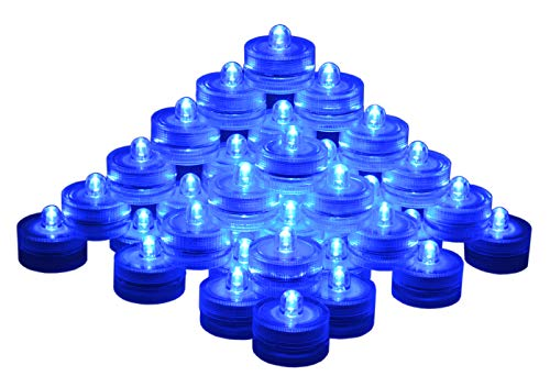 SAMYO Set of 36 Waterproof Wedding Submersible Battery LED Tea Lights Underwater Sub Lights- Wedding Centerpieces Party Decorate (Blue) ()