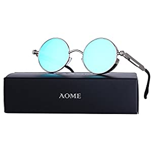 AOME Gothic Steampunk Round Sunglasses Metal Frame Mirrored Circle Lens Glasses