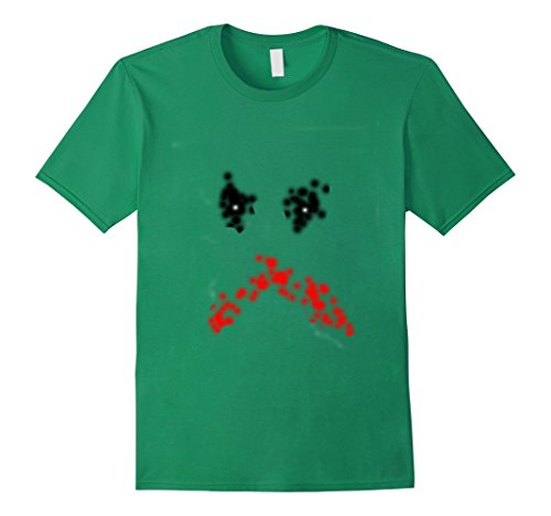 Mens Scary Painted Halloween Face T-Shirt Medium Kelly Green (Halloween Jester Face Paint)